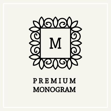 fine lines: Stylish and graceful floral monogram design , Elegant line art icon design, vector template