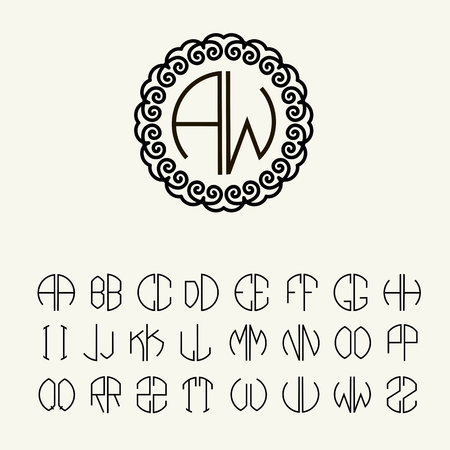 Set template letters to create monograms of two letters in scribed set template letters to create monograms of two letters in scribed in a circle in art pronofoot35fo Images
