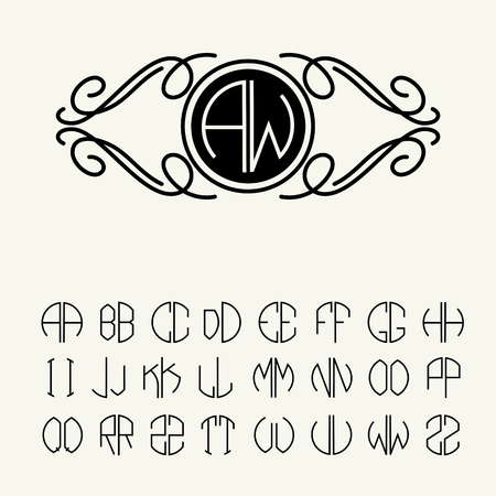 luxury template: Set  template letters to create monograms of two letters in scribed in a circle in Art Nouveau style