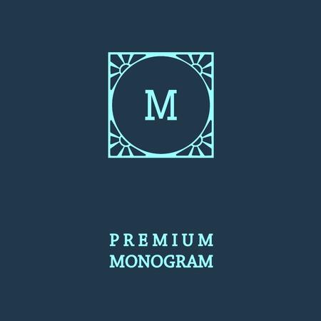 marcos decorativos: Monograma elegante estilo, elegante dise�o icono de la l�nea de arte de estilo Art Nouveau