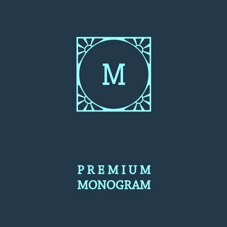 vintage borders: Stylish  graceful monogram , Elegant line art icon design in Art Nouveau style