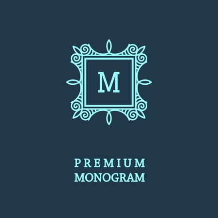 Stylish  graceful monogram , Elegant line art logo design in Art Nouveau style Vector