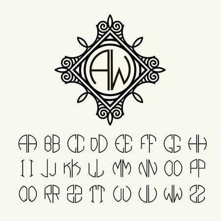 antique art: Set  template letters to create monograms of two letters in scribed in a circle in Art Nouveau style