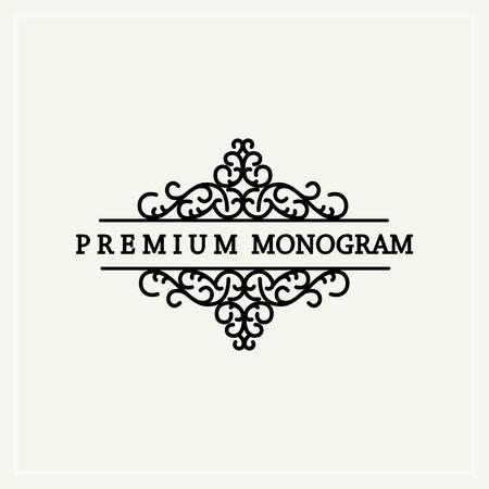 スタイリッシュな優雅なモノグラム、ビクトリア朝様式の優雅なライン アート アイコン デザイン