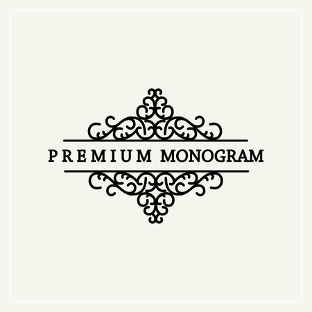 Stylish  graceful monogram , Elegant line art icon design in Victorian Style