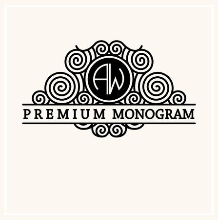 and antique: Monograma elegante estilo, la l�nea logotipo del arte del dise�o elegante de estilo Art Nouveau Vectores