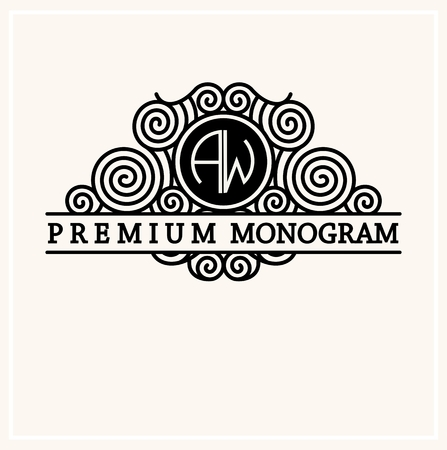 antique: Stylish  graceful monogram , Elegant line art logo design in Art Nouveau style