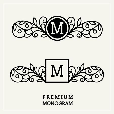 Stylish  graceful monogram , Elegant line art logo design in Victorian Style Vector