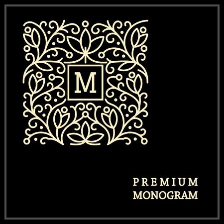 and antique: Monograma elegante del vintage elegante, plantilla emblema, dise�o elegante l�nea logotipo del arte en estilo Art Nouveau