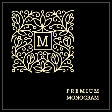 Stylish  vintage graceful monogram,  emblem template , Elegant line art logo design in Art Nouveau style 免版税图像 - 37083890