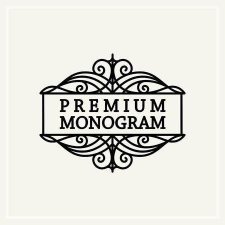 Stylish  vintage graceful monogram,  emblem template , Elegant line art logo design in Art Nouveau style Vector