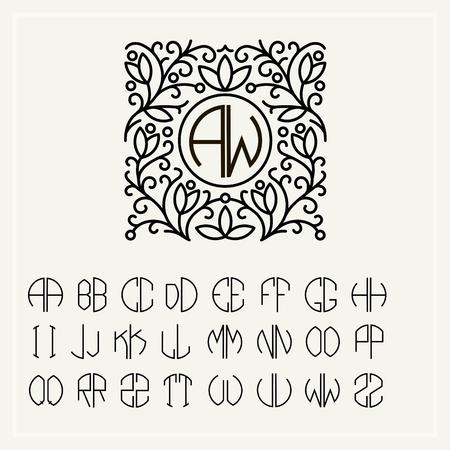 cartas antiguas: Establecer modelos de cartas para crear monogramas de dos cartas en las describe en un c�rculo en estilo Art Nouveau