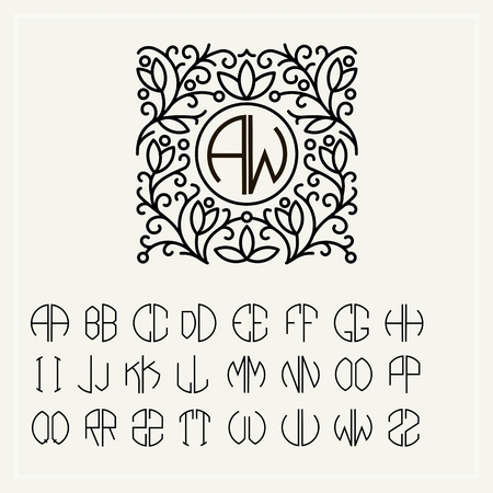 ornaments floral: Set  template letters to create monograms of two letters in scribed in a circle in Art Nouveau style