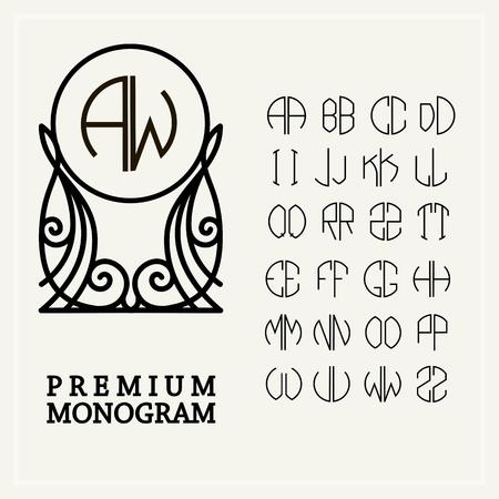 stile liberty: Impostare lettere modello per creare monogrammi di due lettere in descritto in un cerchio in stile Art Nouveau Vettoriali