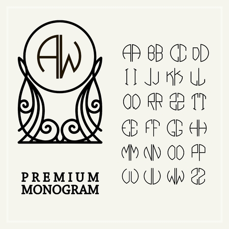 art deco border: Set  template letters to create monograms of two letters in scribed in a circle in Art Nouveau style