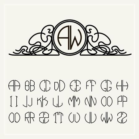 아르누보 스타일의 원형으로 스 크라이 빙에 위치한 템플릿 편지는 두 글자의 모노그램을 만들 수 있습니다 일러스트