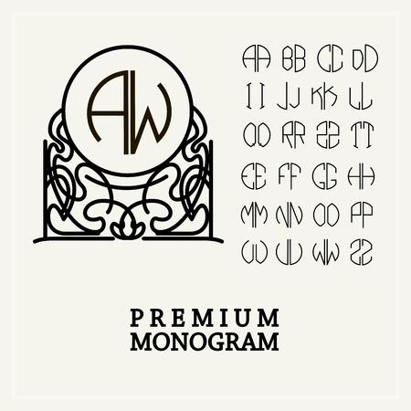 Şık zarif tuğrası, Art Nouveau tarzında zarif hat sanatı logo tasarımı