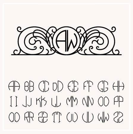 Stylish  graceful monogram , Elegant line art  design in Art Nouveau style
