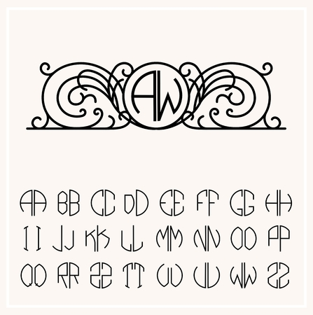 wedding decoration: Stylish  graceful monogram , Elegant line art  design in Art Nouveau style