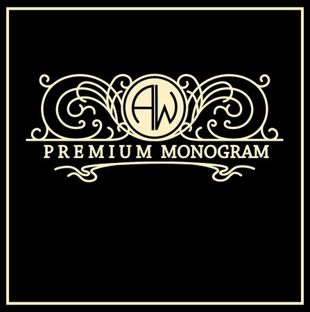 Élégant monogramme gracieuse vintage, modèle emblème, élégante conception d'art de la ligne dans le style Art Nouveau