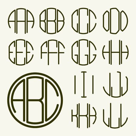 Set 1 template letters to create a monogram of three letters inscribed in a circle in Art Nouveau style Illustration