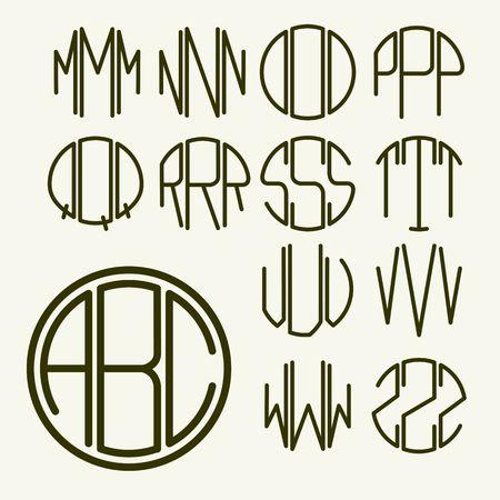 carta: Set 2 cartas de plantilla para crear un monograma de tres letras inscritas en un círculo en estilo Art Nouveau