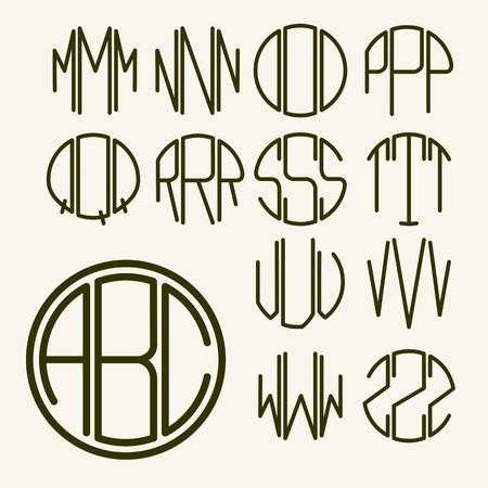 antique art: Set 2 template letters to create a monogram of three letters inscribed in a circle in Art Nouveau style