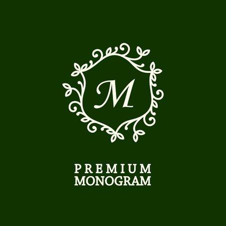 graceful: Stylish and graceful floral monogram design , Elegant line art icon design, vector template