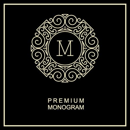 Stylish  graceful monogram , Elegant line art icon design in Art Nouveau style