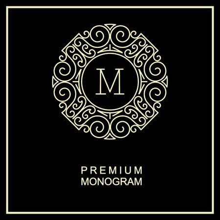 Stylish  graceful monogram , Elegant line art icon design in Art Nouveau style Reklamní fotografie - 38198366