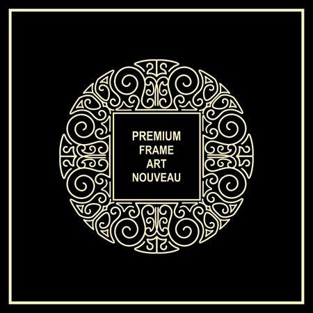 Premium Art Nouveau frame copy space for text in  mono line style - art deco monogram design element
