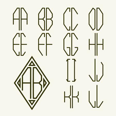 Set 1 van templates van letters om een ??twee-brievenmonogram ingeschreven in ruit in de Art Nouveau-stijl te creëren Stockfoto - 38198502