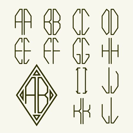 Set 1 of templates of letters to create a two-letter monogram inscribed in rhombus in the Art Nouveau style