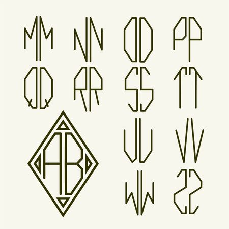 linear art: Set 2 of templates of letters to create a two-letter monogram inscribed in rhombus in the Art Nouveau style