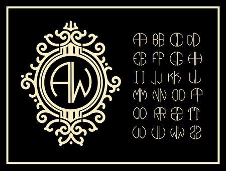 tipos de letras: Establecer modelos de cartas para crear monogramas de dos cartas en las describe en un círculo en estilo Art Nouveau