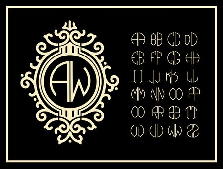 old letters: Set  template letters to create monograms of two letters in scribed in a circle in Art Nouveau style