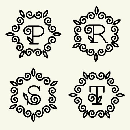 linear art: Set 4 of modern monogram style linear with the letters p, r, s, t