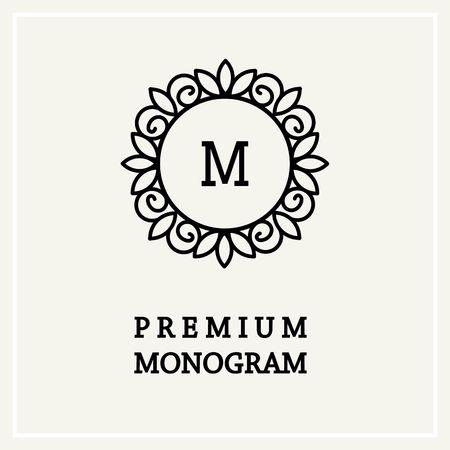 Élégant et gracieux design floral de monogramme icône Line art