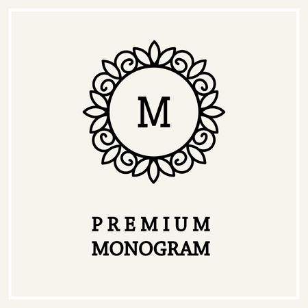 Stylish and graceful floral monogram design  Line art icon Ilustracja