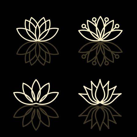 flor loto: Vector iconos florales y plantillas icono de diseño Vectores