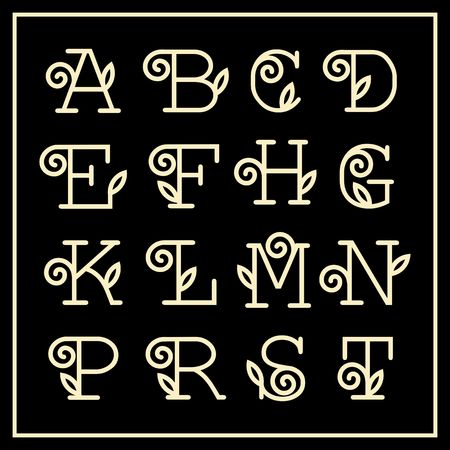 floral elements: Vintage Art Nouveau floral font for  monogram and icon. Lineart.