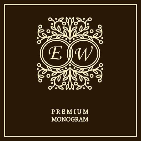 fine art: Monogram design template for two letters ,  Art Nouveau style