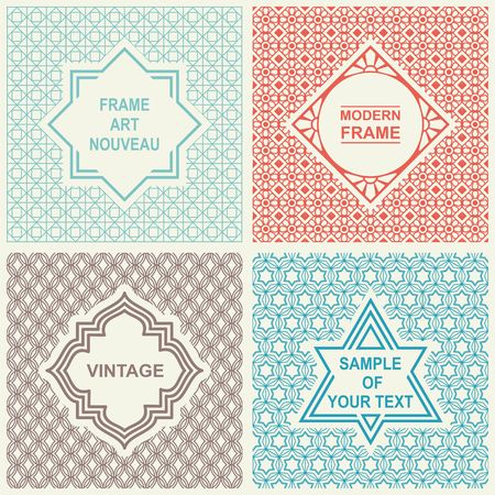 Vintage Set.  Templates icon, Labels and Badges on  Backgrounds Ilustração