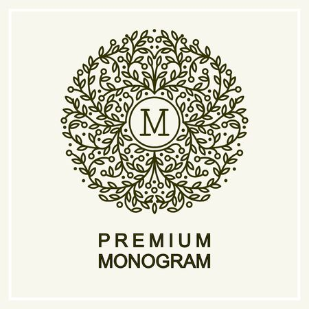 Stylish and graceful floral monogram  , line art icon design