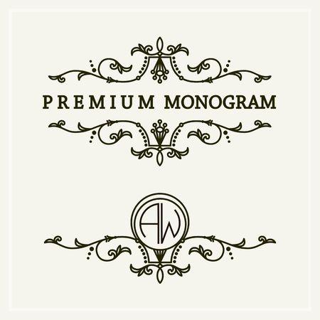 graceful: Stylish and graceful floral monogram design ,  line art icon