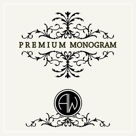 La conception de monogramme floral élégant et gracieux, l'art de l'icône ligne Illustration