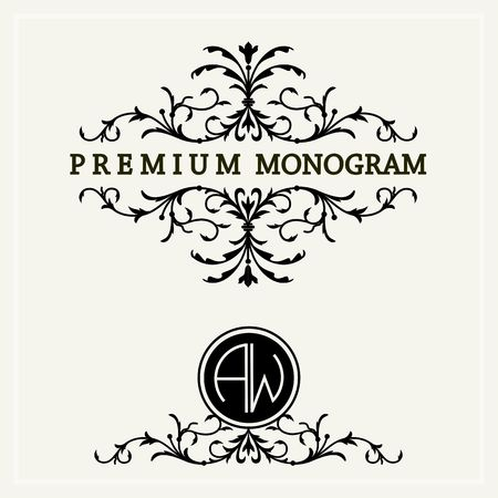 Stylish and graceful floral monogram design ,  line art icon