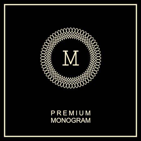 stile liberty: Elegante monogramma aggraziato, icona del design in stile Art Nouveau