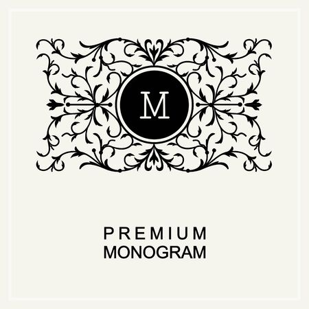 wedding decoration: Stylish  graceful monogram ,  line art icon  Art Nouveau style