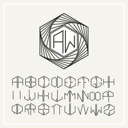 hexahedron: Monogram , Elegant line art icon  in Art Nouveau Style Illustration